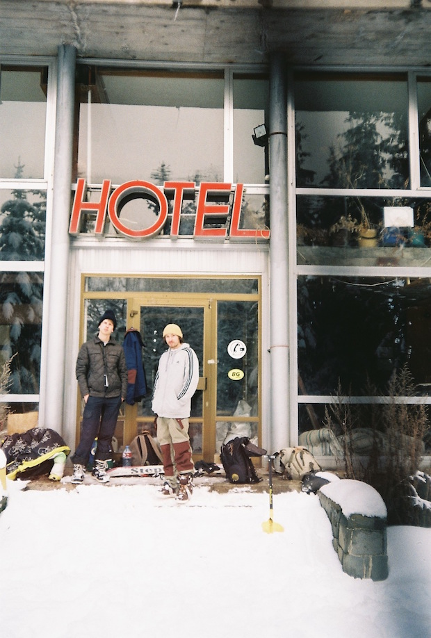 Matic and Klaus checking in the hotel at Vitosha, pic_Vid Baric